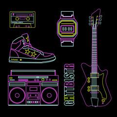 Neon farbige Kassette, Schuh, Ghettoblaster, Uhr, Gitarre
