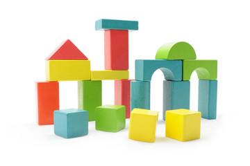 Obraz Drewniane klocki w różnych kolorach i kształtach - fototapety do salonu