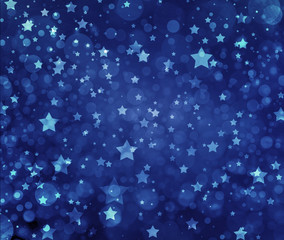 Stars on blue background. Navy blue background with white stars. Glittering stars at night. Stars shining in sky.