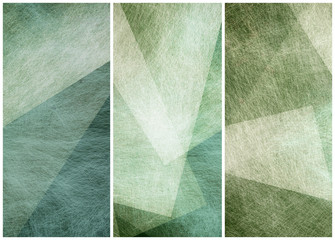 matching graphic art side bars headers or footers in abstract blue green geometric angles patterns
