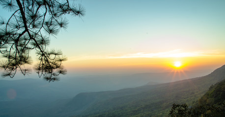Zelfklevend Fotobehang Groen blauw sunset on mountain landscape
