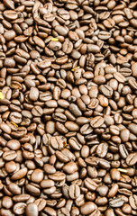 Brown coffee beans, close-up of coffee beans