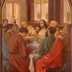 Bruges - Last Supper of Christ by Van Heary (1865) in st. Giles