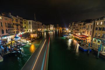 Venice canal at night, Venice, Italy