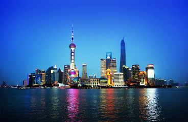 Fotobehang Aziatische Plekken Shanghai at night, China
