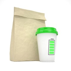 Coffee to go and lunch bag, on white.