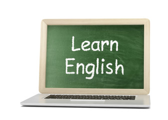 Laptop with chalkboard, learn english, online education concept