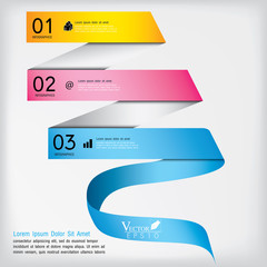 Abstract business infographics template ribbon style. Vector ill