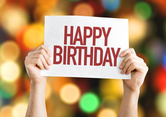 Happy Birthday placard with bokeh background