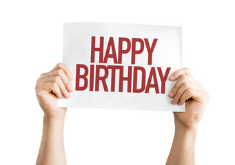 Happy Birthday placard isolated on white