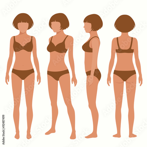 Human Body Anatomy Front Back Side View Vector Woman