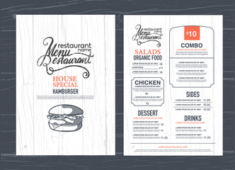vintage restaurant menu design and wood texture background..
