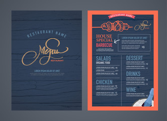 Retro restaurant menu design and wood texture background..