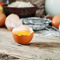 broken egg closeup