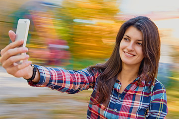 cheerful woman selfie