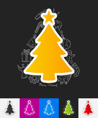christmas tree paper sticker with hand drawn elements