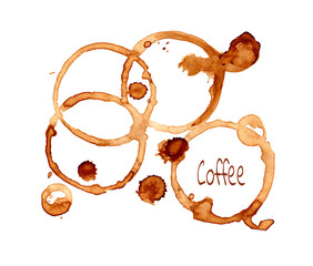 Coffee vector stain on a white background. Coffee  vector  cup rings isolated on a white background