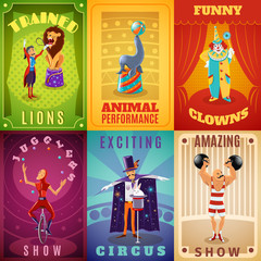 Circus 6 flat banners composition poster