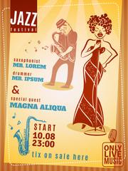 Jazz music festival vintage poster