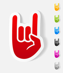realistic design element. rock hand gesture