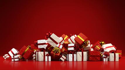 Haufen bunter Geschenke zu Weihnachten