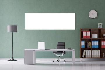 Weiße Leinwand als Panorama im Büro