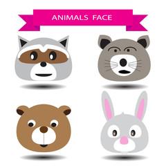 Four animal face cartoon character design