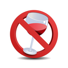 No alcohol sign, isolated on white background