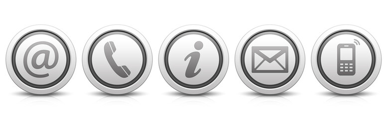 Contact Us – Set of light gray buttons with reflection & black