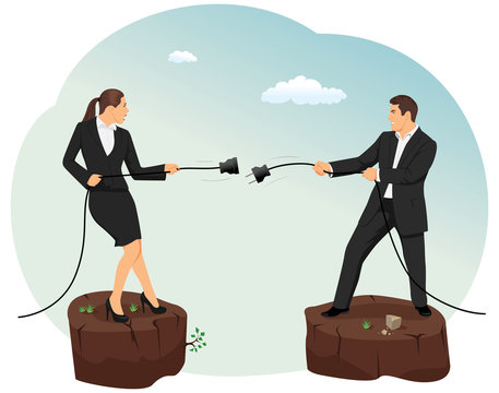 Businessman and businesswoman are unplugging the power cable above the precipice. Relationship disconnection.