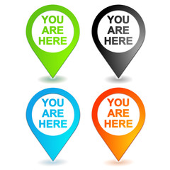 you are here on 4 colors geolocation symbol