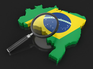 Map of Brazil with loupe. Image with clipping path.