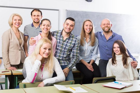 Positive professor and group of students.