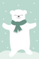 cartoon polar white bear with scarf lovely pastel vector illustration