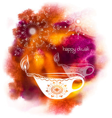 illustration for Happy Diwali Festival with watercolour backgrou