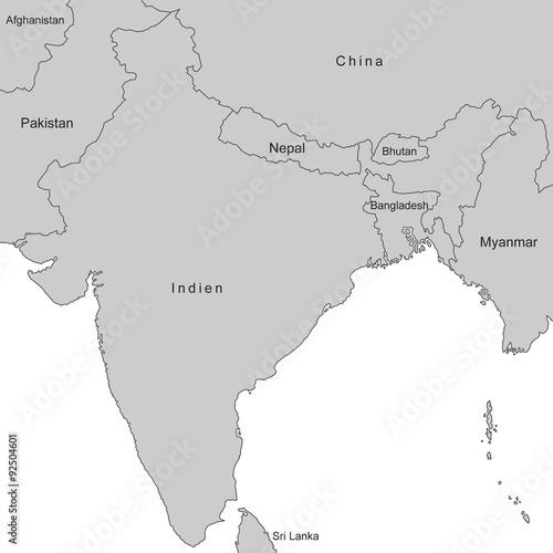 Indien - Karte in Grau (mit Beschriftung)