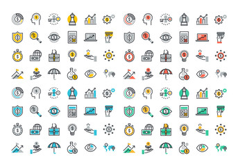 Flat line colorful icons collection of business strategy, money growth, financial planning, investment portfolio, crowdsource funding, market data analytics, insurance.