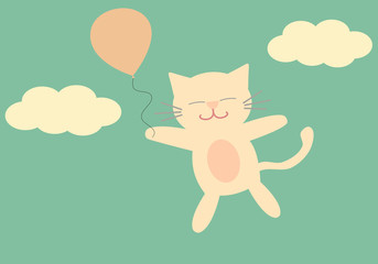 lovely cartoon cat flying in the sky with balloon cute vector background illustration