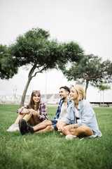 Happy group of friends on vacation, relaxed in a park
