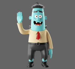 3D Halloween party cartoon icon frankenstein, funny scary man character, zombie figure