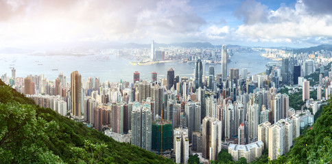panorama view of skyscrapers in a modern city