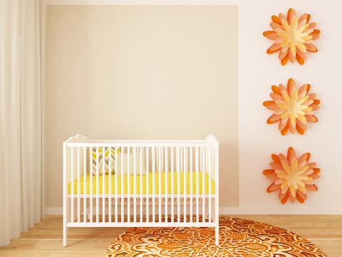 nursery, baby room, playroom, 3d render