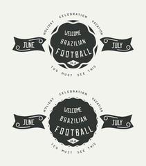 Retro old school label design on grunge textured. Set of Brazilian football. Vector eps 10