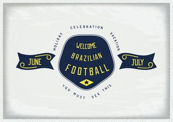 Vintage style design sign Holiday in Brazil. Old school vector eps 10