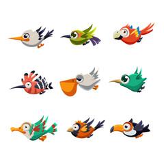 Colourful Flying Birds in Profile Vector Illustration Set
