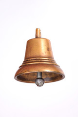 Antique copper small bell isolated on  white background