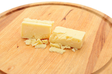 Small blocks of cheddar cheese