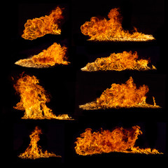 High resolution fire collection on black background