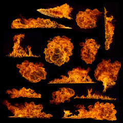 Canvas Prints Fire / Flame High resolution fire collection on black background