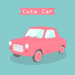 cute pink car vector
